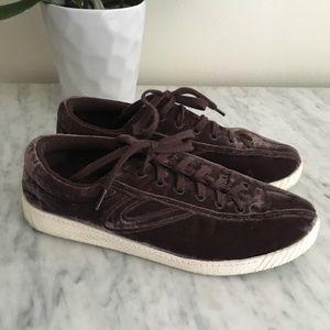 Madewell Tretorn mauve velvet Nylite sneakers